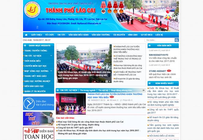 Một phần giao diện website trường THPT số 1 thành phố Lào Cai