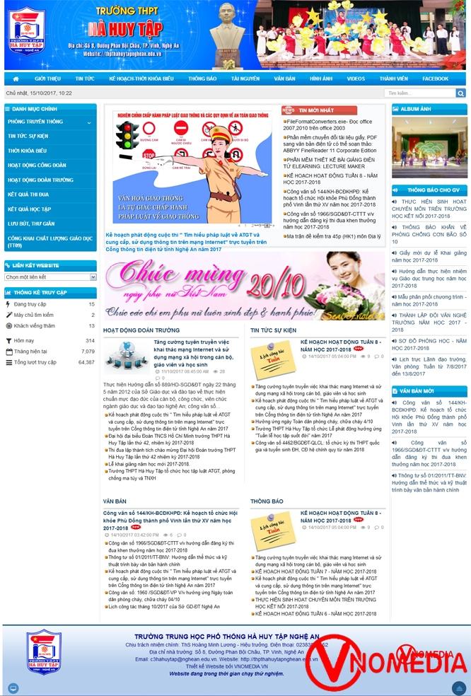 Mẫu website (trang thông tin điện tử) trường THPT tiêu biểu